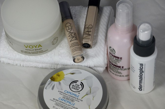 Body shop cleansing butter, urban decay concealer, nars creamy consealer, body shop vitamin e, voya irish skincare